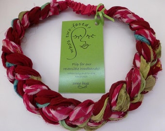 Upcycled Sari Silk braided headband gorgeous silk chiffon colorful and featherweight hair accessory
