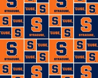 NCAA Syracuse Orange Men College Logo Cotton Fabric by Sykel! [Choose Your Cut Size]