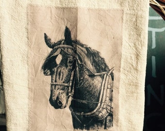 Draft horse floursack tea towel