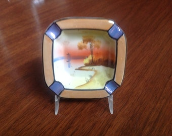 Vintage Lusterware Ashtray Hand Painted Landscape Takito Japan