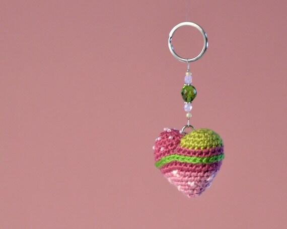 Handmade amigurumi heart key ring personal accessory