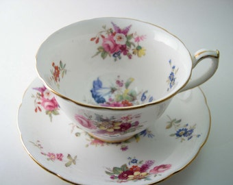 Hammersley Tea Cup and Saucer, White with flowers tea cup and saucer set, English Bone China.