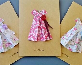 Vintage origami dress card