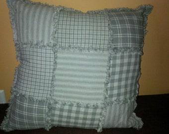 """14"""" grey rag pillow"""