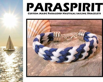 Nautical Bracelet / Rope / Surfer / Beach Paracord Bracelet with Silver Rhodium Lobster Clasp