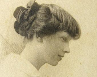 antique photograph - Edwardian profile portrait - romantic young girl - hand drawn details