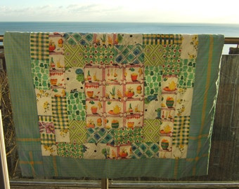 Fifties Patchwork Quilt, Picnic Blanket, Retro Rug, Sofa Throw, Lap Quilt with Food, Drink and Flowers