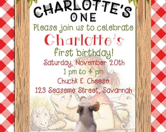 Charlotte's Web Birthday Invite, 5x7 DIY digital file