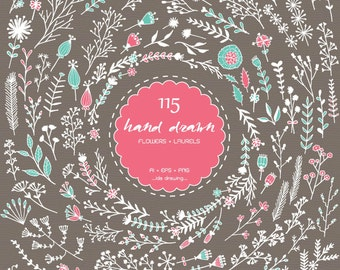 115 Floral Hand Drawn Digital Clip Art - Wedding Clip Art -Floral Wedding-Flower  Clip Art-Laurels-Invitation-Scrapbooking-Flower Hand Drawn