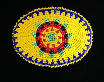 Vintage Native American beaded belt buckle