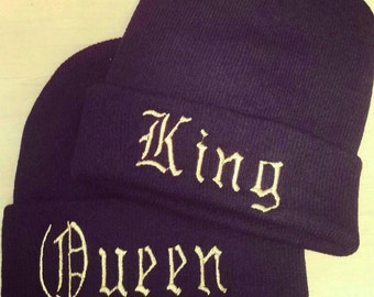 King OR Queen embroidered beanie