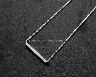 Silver bar necklace...dainty minimalist handmade necklace, everyday, simple, birthday, sorority, wedding, bridesmaid, best friend gift