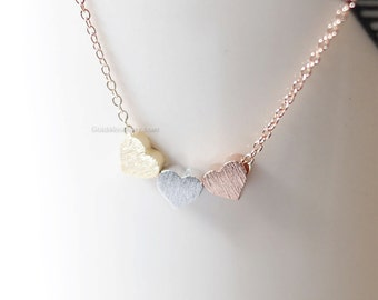 Tiny 3 hearts necklace, three hearts gold, silver, rose gold on gold, silver, rose gold chain.daint, simple, birthday, wedding, bridesmaid