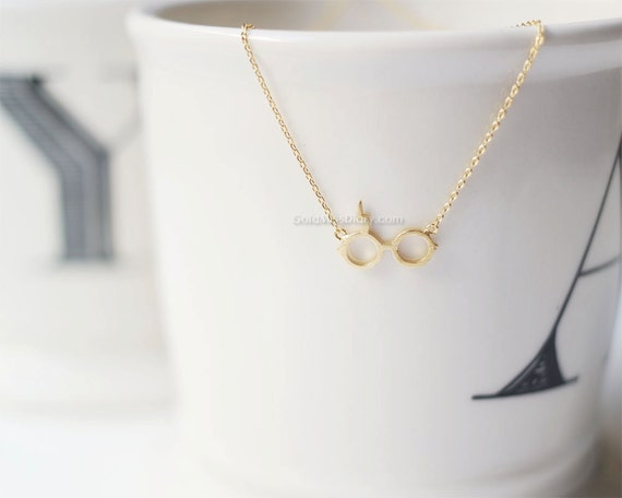 Dainty Harry Potter glasses necklace