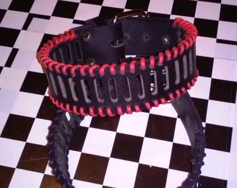 Black Leather & Red Stitched Armband