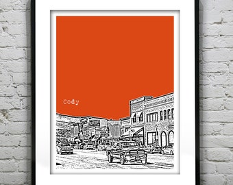1 Day Only Sale 10% Off - Cody Wyoming Skyline Art Print Poster WY