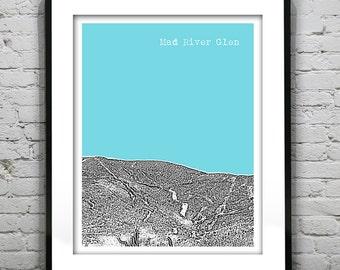 Mad River Glen Vermont VT Ski Skiing Art Print Poster