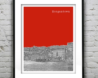 Morgantown WV Skyline Poster Art Print  West Virginia