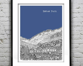 Estes Park Skyline Poster Art Print Colorado CO Version 4