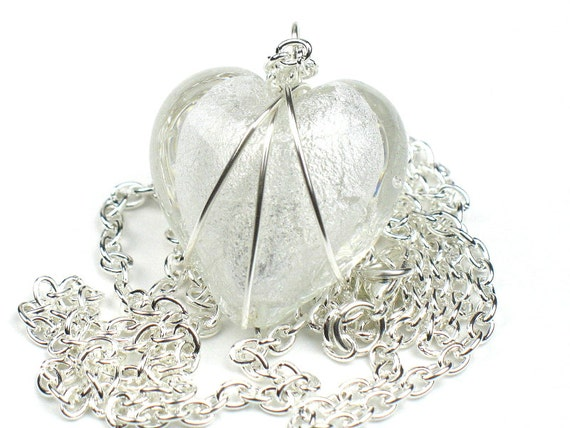 White Heart Necklace with  Wire Wrapped Pendant and Silver Chain