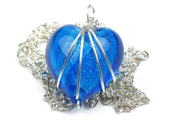Heart Necklace in Aqua Blue with Wire Wrapped Pendant and Silver Chain