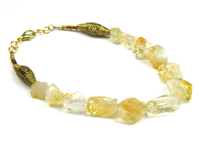 November Birthstone Citrine Necklace in Amber Yellow Stone with African Brass Beads