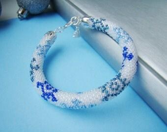 Holiday gift ideas Snowflakes beaded bracelet Christmas gift Seed bead bracelet Crochet rope Winter wedding holiday jewelry White blue