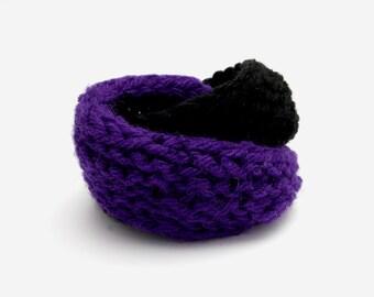 Double Mobius Bracelet in Vintage Purple & Black Wool