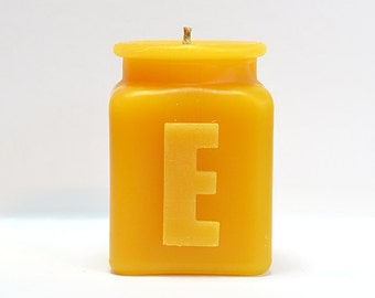 Handmade Personalized Monogram Letter E Beeswax Candle, Table Number, All Letters and Numbers Available