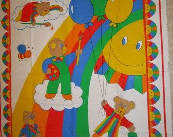painting teddy bear rainbow sunshine balloon panel quilt topper
