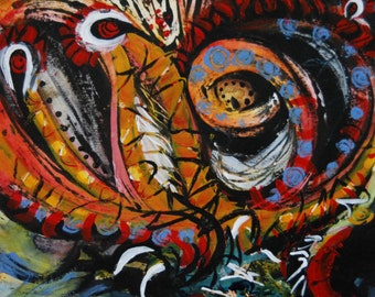 "Blaze series, original mixed media artwork, 11"" x 15"""