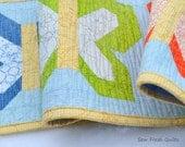 Table Runner, centerpiece, modern design, patchwork, butterfly, green, orange, blue, yellow