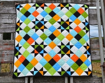 Baby Toddler or Lap Quilt Pattern, PDF, instant download, Solids  Prints, modern patchwork, Ohio Star, blue, green, orange, black, white