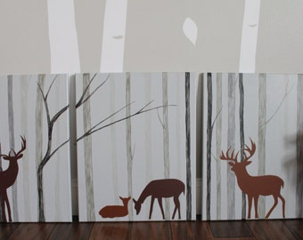 SALE Deer Nursery Decor, Woodland Nursery, Deer Painting, Forest Nursery, Deer Woodland, Deer Nursery, Deer Decor, Modern Deer Nursery