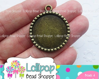 "1 inch (25mm) 1"" Antique Bronze Bezel Pendant Blanks Tray Round 5+ DIY Cameo Setting Bottle Cap Jewelry For Epoxy Stickers or Glass Domes"