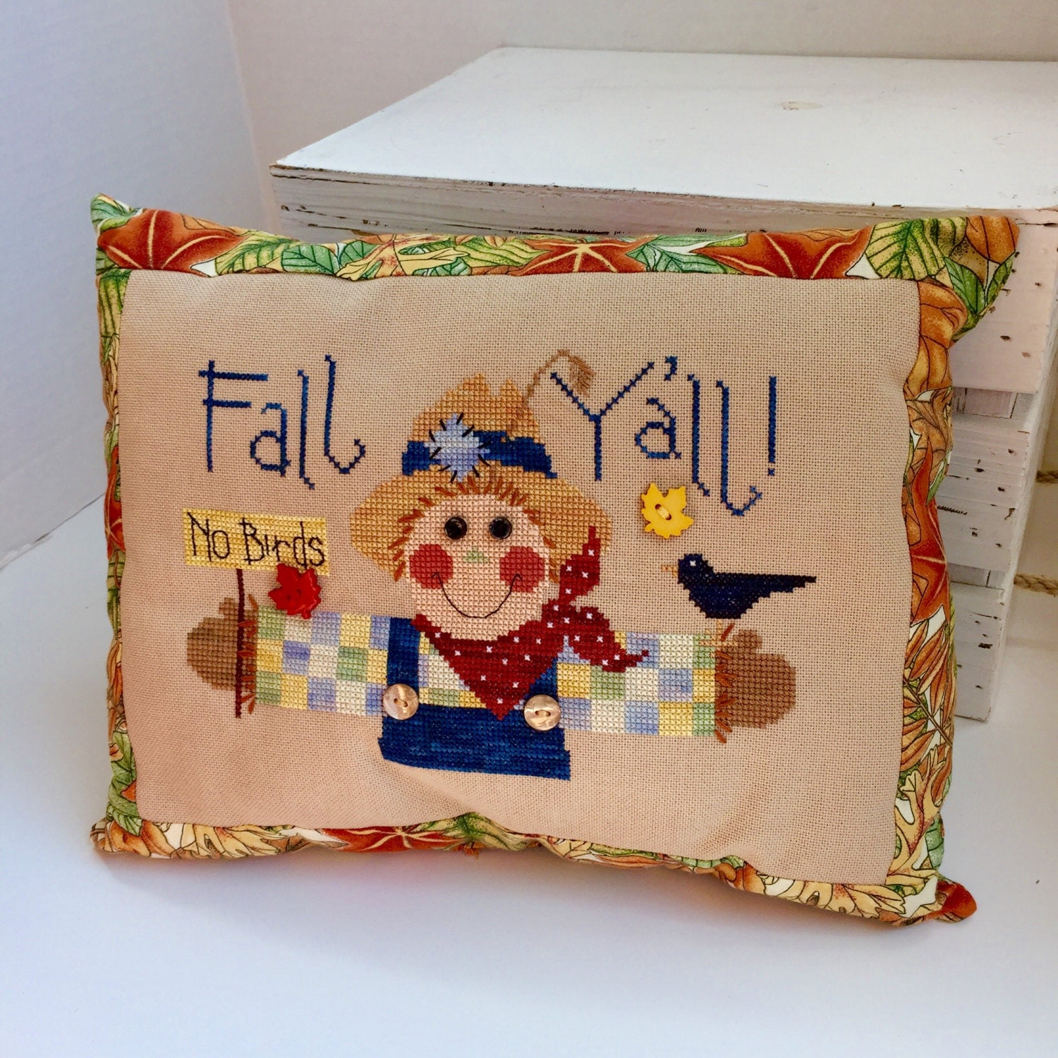 Decorative Pillows For Fall : Happy Fall Y all Autumn Scarecrow Decorative Pillow