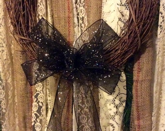 Halloween Wreath Bow/ Sheer Black Halloween Bow with Silver Glitter/ Black Halloween Bow/ Handmade Halloween Decoration/ Black & Silver Bow