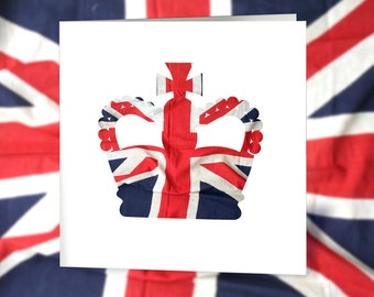 Union Jack Royal Crown Greetings Card