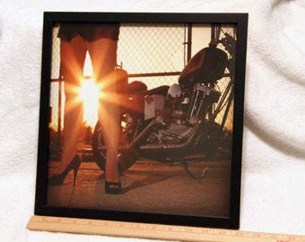 12x12 inch framed Instagram print of long legs at sunset, with a Harley-Davidson Ironhead Chopper