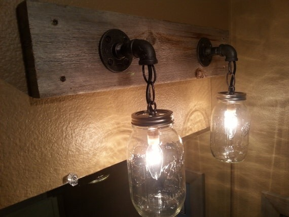 24 2 Mason Jar Vanity Light Fixture From Reclaimed