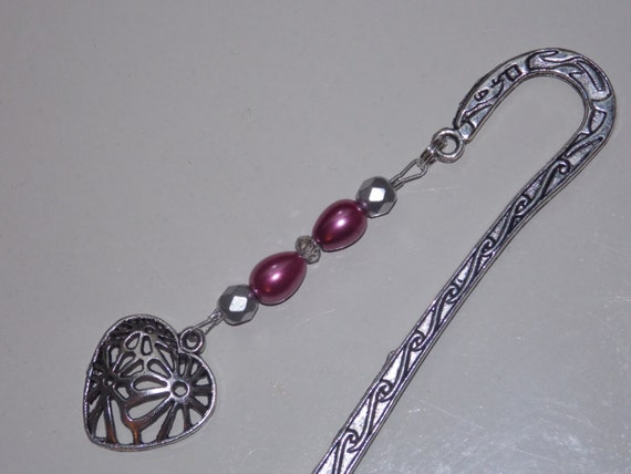 Wine Teardrop Pearl Heart Bookmark