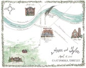 Made to Order - Custom Wedding Map - Illustrated Chattanooga Tennessee Watercolor Wedding Map Lookout Mountain