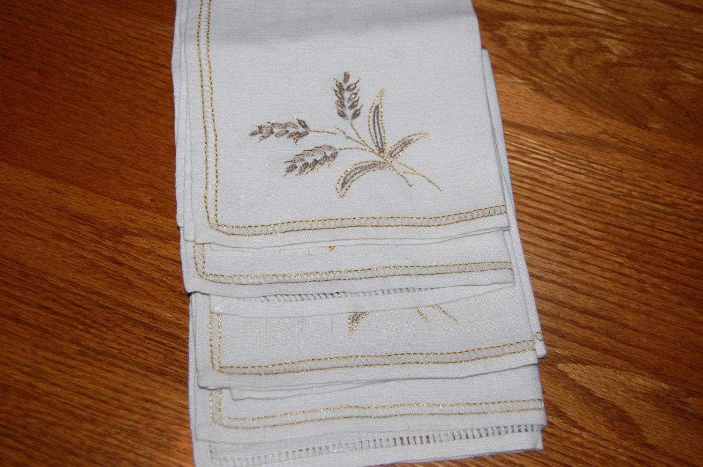 Vintage Linen Napkins 4 Off White Gold Thread Trim Formal