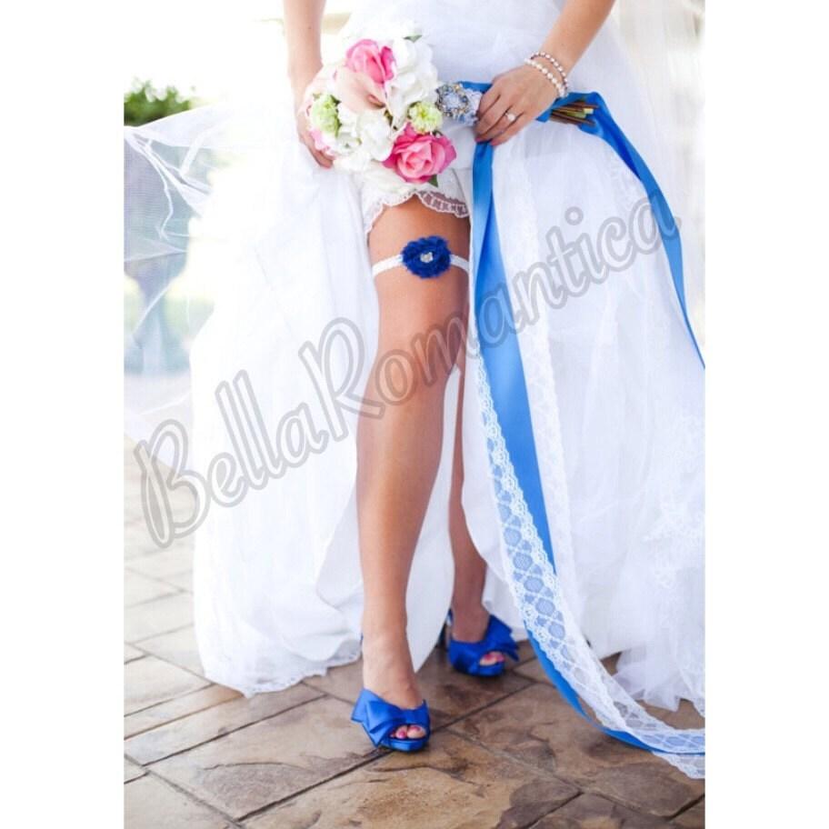 White Wedding Garter: Royal Blue Wedding Garter White Wedding Garter By