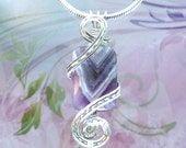 Purple Amethyst Womans Pendant Necklace Wire Wrapped Jewelry Handmade in Silver FREE SHIPPING