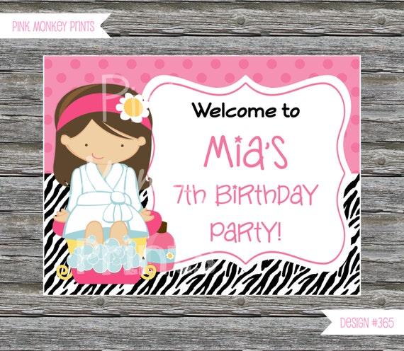 DIY Girl Zebra Print Spa Birthday Party Welcome Sign 365