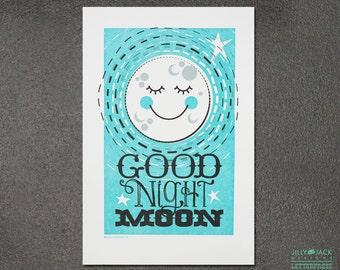Nursery wall art, New baby Gift, Kids wall art, Good Night Moon Letterpress Art Print JJD-LPP-GNMP