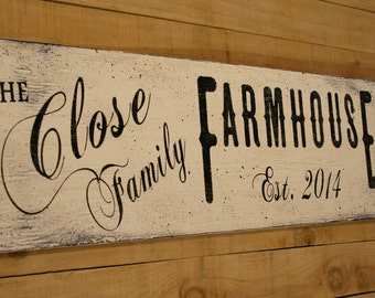 Personalized Farmhouse Decor Primitive Wood Sign Housewarming Gift Custom Name Sign Rustic Chic Decor Shabby Chic Wall Decor Wedding Gift
