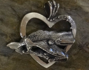Newfoundland Sperm Whale and Calves Heart Pendant - Handmade with Fine Detail in Sterling or 14k Gold.