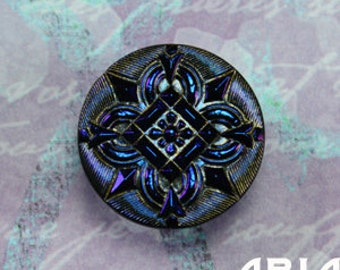 CZECH GLASS BUTTON: 27mm Handpainted Ornate Quatrefoil Czech Button, Pendant, Cabochon (1)